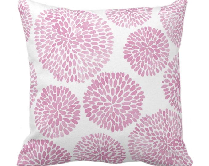 """OUTDOOR Watercolor Chrysanthemum Throw Pillow/Cover, Pink Lemonade/White 14, 16, 18, 20, 26"""" Sq Pillows/Covers, Modern/Floral/Flower Print"""