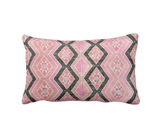 "OUTDOOR Chinese Wedding Blanket Printed Throw Pillow or Cover, Pink & Black 14 x 20"" Lumbar Pillows or Covers, Vintage Embroidery Print"