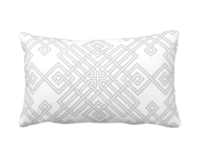 "Interlocking Geo Throw Pillow or Cover, Gray/White 14 x 20"" Lumbar Pillows or Covers, Grey Geometric/Tile/Trellis Print/Pattern"