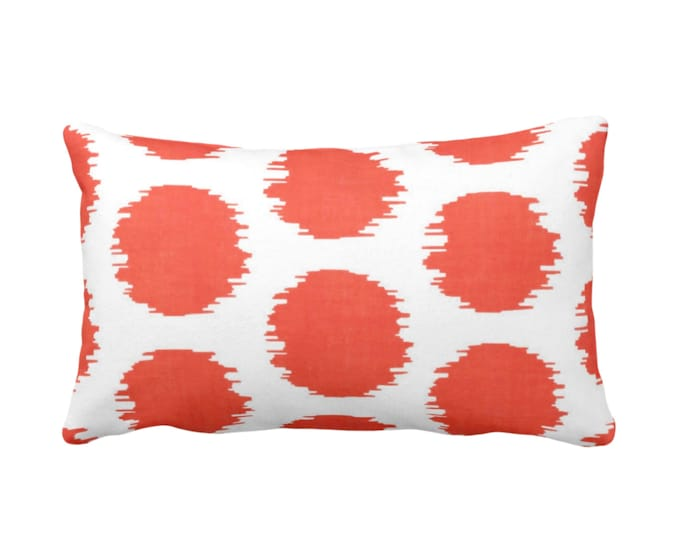 "Ikat Dot Throw Pillow or Cover, Coral/White 14 x 20"" Lumbar Pillows or Covers, Scribble/Dots/Spots/Spot/Circles/Polka/Dotted Print/Pattern"