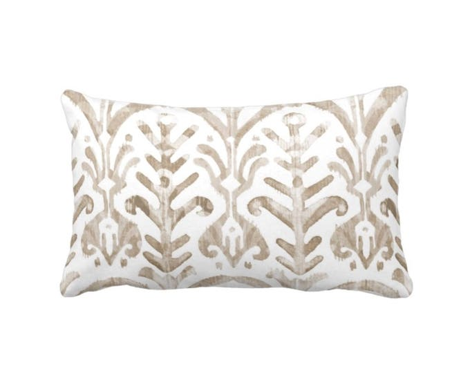 """Watercolor Throw Pillow or Cover, Bark/White 14 x 20"""" Lumbar Pillows or Covers, Ikat/Tribal/Boho Print/Pattern, Taupe/Beige/Tan"""