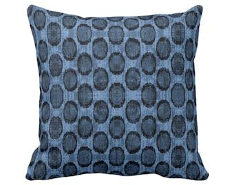 "Ikat Ovals Print Throw Pillow or Cover 14, 16, 18, 20, 26"" Sq Pillows or Covers, Navy/Dark Blue Geometric/Circles/Dots/Dot/Geo/Polka Pattern"