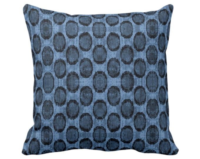 "Ikat Ovals Print Throw Pillow or Cover 14, 16, 18, 20, 26"" Sq Pillows or Covers, Navy/Dark Blue Geometric/Circles/Dots/Dot/Geo/Polka Pattern"