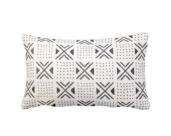 """SALE Mud Cloth Print Pillow Cover, Off-White/Brown/Black 14 x 20"""" Lumbar Throw Pillow Covers, Mudcloth Dots, X's Boho/Tribal/African"""