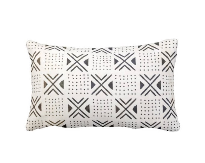 "Mud Cloth Print Pillow or Cover, Off-White/Black 14 x 20"" Lumbar Throw Pillows or Covers, Mudcloth Dots, X's Boho/Tribal/African"