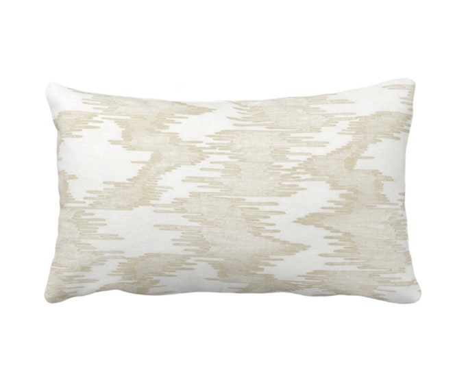 """OUTDOOR Ikat Print Throw Pillow or Cover, White/Cream 14 x 20"""" Lumbar Pillows/Covers Ivory/Off-White, Abstract/Water/Stripe/Modern/Lines/Art"""