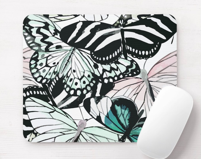 Butterfly Print Mouse Pad, Black, White, Teal & Pink Colorful Mousepad