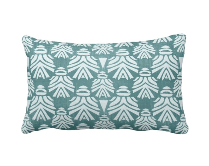 "Block Print African Mask Throw Pillow or Cover, Teal 14 x 20"" Lumbar Pillows or Covers Dark/Dusty Blue/Green Blockprint/Tribal/Boho Pattern"