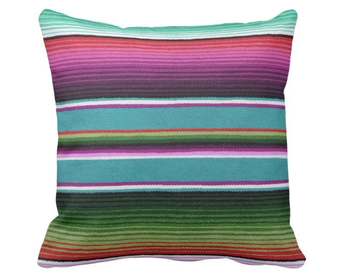 "Serape Stripe Throw Pillow or Cover, Printed Mexican Blanket/Rug 14, 16, 18, 20, 26"" Sq Pillows or Covers, Rainbow/Colorful/Stripes/Striped"