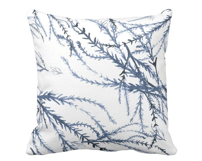 "OUTDOOR Watercolor Branches Throw Pillow or Cover, Blue/White 14, 16, 18, 20 or 26"" Sq Pillows/Covers, Navy Ocean/Leaves/Floral Print"
