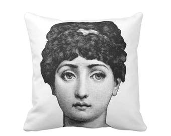 "Fornasetti Face Throw Pillow or Cover, Black/White Print 16, 18, 20, 26"" Sq Pillows or Cover, Modern/Art/Close-Up/Woman/Cavalieri"