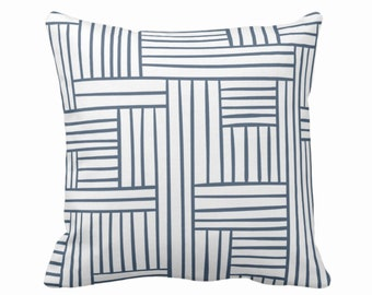 "Woven Lines Throw Pillow or Cover, White/Navy 16, 18, 20, 26"" Sq Pillows Covers, Dark Blue Modern/Plaid/Striped/Geometric/Geo/Abstract Print"