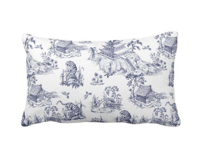 """Tiger Toile Throw Pillow or Cover, 14 x 20"""" Lumbar/Oblong Pillows or Covers Navy Blue & White Print/Pattern, Chinoiserie/Pagoda/Willow/Vase"""