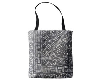 Vintage Gray Batik Printed Market Tote, Boho Grey & White Chinese Wedding Blanket Print Bag