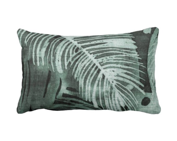 "Tropical Leaves Print Throw Pillow or Cover, Kale 14 x 20"" Lumbar Pillows or Covers, Batik/Painted Palm Deep Green Jungalo"