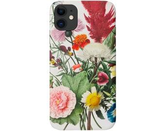 Vintage Botanical iPhone 12, 11, XS, XR, X, 7/8 Mini/Pro/P/Plus/Max, Snap Case or Tough Protective Cover, Floral/Flower/Flowers Print Galaxy