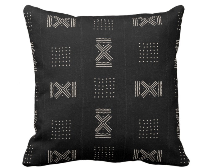 """OUTDOOR Mud Cloth Print Throw Pillow or Cover, Double X & Dots Black/Off-White 16, 18 or 20"""" Sq Pillows/Covers, Mudcloth/Boho/Tribal/Design"""