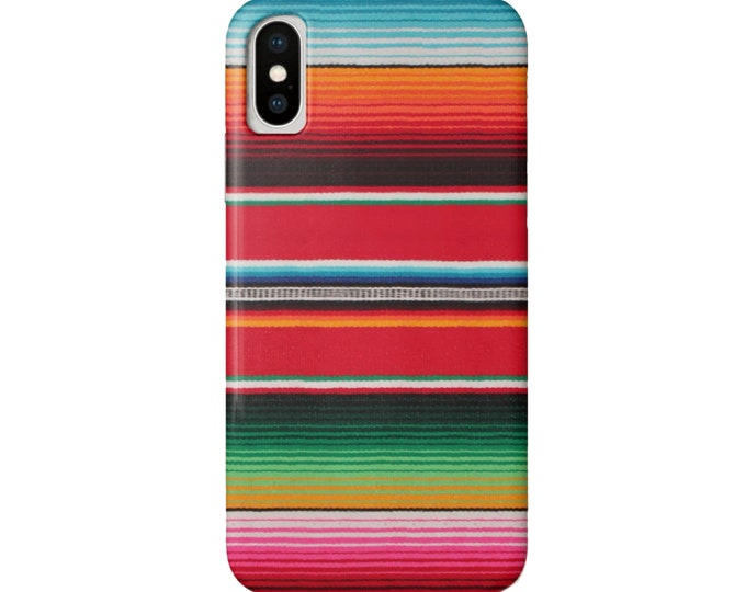 Serape Stripe iPhone 11, XS, XR, X, 7/8, 6/6S P/Plus/Max Snap Case or Tough Protective Cover, Fun Bright Colorful Striped Mexican Print