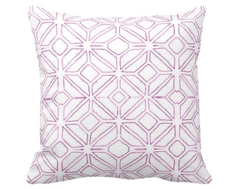 "OUTDOOR Tribal Trellis Throw Pillow or Cover, Purple & White 14, 16, 18, 20, 26"" Sq Pillows/Covers, Geometric/Diamond/Triangle Print/Pattern"