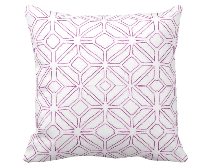 "OUTDOOR Tribal Trellis Throw Pillow or Cover, Purple & White 14, 16, 18, 20, 26"" Sq Pillows/Covers Geometric/Diamond/Lattice/Medallion Print"
