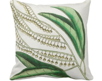 """Vintage Botanical Lily of the Valley Throw Pillow or Cover, 14, 16, 18, 20, 26"""" Sq Pillows/Covers Nature/Plant/Leaves/Greenery Green Print"""