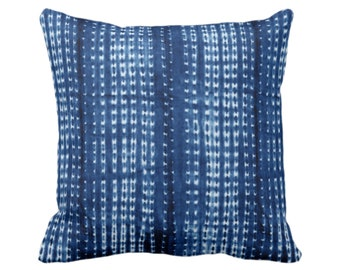 "Indigo Mud Cloth Printed Throw Pillow or Cover, Small Lines/Dots 16, 18, 20, 26"" Sq Pillows/Covers, Bright Blue Mudcloth/Stripes/Stripe/Dot"