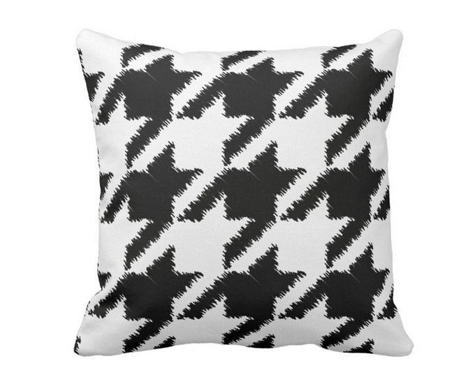 """Houndstooth Printed Throw Pillow or Cover, Modern Black/White Print 16, 18, 20 or 26"""" Square Pillows or Covers, Plaid/Checkered"""
