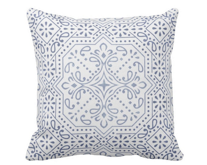 "Tile Print Throw Pillow or Cover, Chambray 16, 18, 20 or 26"" Sq Pillows or Covers, Dusty Blue/White Trellis/Geometric/Batik/Geo"