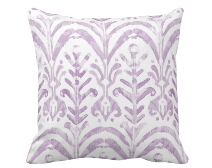 """OUTDOOR Watercolor Print Throw Pillow or Cover, Lavender/White 16, 18 or 20"""" Sq Pillows or Covers, Hand-Dyed Effect Light Purple Ikat Design"""
