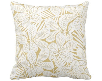 "Modern Leaves Throw Pillow or Cover Mustard/White Print 16, 18, 20 or 26"" Sq Pillows or Covers Yellow Retro Tropical Print"