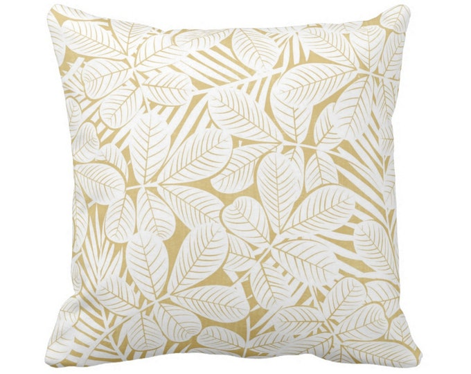 "SALE Modern Leaves Throw Pillow Cover Mustard/White Print 14 and 20"" Sq Pillow Covers Yellow Retro Tropical Print"