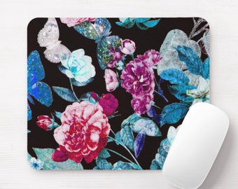Vintage Floral Mouse Pad, Black, Blue, Pink & Purple Flowers/Art Print Mousepad, Butterflies/Flowers/Retro/Wallpaper Colorful/Bright