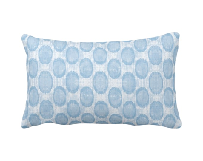 "OUTDOOR Ikat Ovals Print Throw Pillow or Cover 14 x 20"" Lumba Pillows/Covers, Sky/Light Blue Geometric/Circles/Dots/Dot/Geo/Polka Pattern"