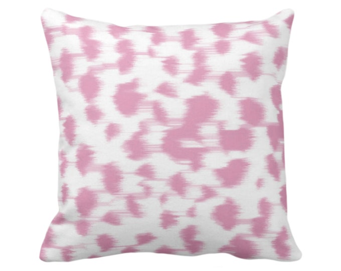 """Ikat Abstract Animal Print Throw Pillow or Cover 14, 16, 18, 20, 26"""" Sq Pillows/Covers, Rose Pink/White Spots/Spotted/Dots/Dot/Geo/Painted"""