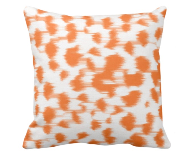 """OUTDOOR Ikat Abstract Animal Print Throw Pillow/Cover 14, 16, 18, 20, 26"""" Sq Pillows/Covers, Bright Orange/White Spotted/Dots/Spots/Geo/Dot"""