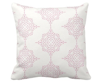 "OUTDOOR Block Print Stars Throw Pillow/Cover, Pink/Ivory 14, 16, 18, 20, 26"" Sq Pillows/Covers, Geometric/Geo/Blockprint/Medallion Pattern"