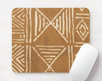 Mud Cloth Print Mouse Pad/Mousepad, Brown & White Mudcloth/Tribal/African/Boho/Geometric/Geo/Diamond Pattern Neoprene Mousepads, Tan/Mustard