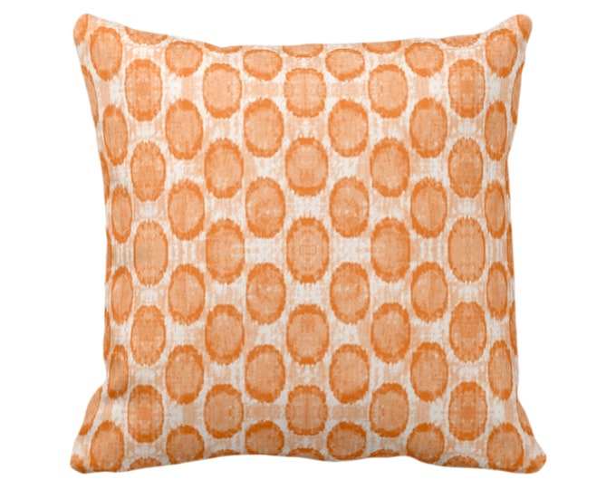 """Ikat Ovals Print Throw Pillow or Cover 14, 16, 18, 20, 26"""" Sq Pillows/Covers, Canteloupe Orange Geometric/Circles/Dots/Dot/Geo/Polka Pattern"""