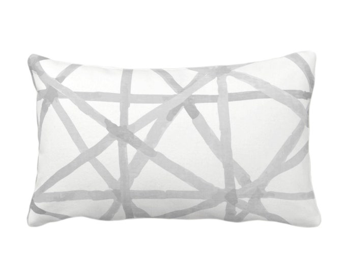 """OUTDOOR Painted Lines Throw Pillow or Cover, White/Smoke 14 x 20"""" Lumbar Pillows/Covers Print, Gray Abstract Geometric/Geo/Lines Pattern"""
