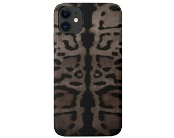 Taupe Leopard iPhone 11, XS, XR, X, 7/8, 6/6S Pro/Max/P/Plus Snap Case or TOUGH Protective Cover, Gray/Black Animal Print/Pattern Galaxy lg
