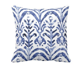 "Watercolor Print Throw Pillow or Cover, Indigo/White 16, 18, 20 or 26"" Sq Pillows or Covers, Blue/Navy Ikat/Boho/Pattern/Design"