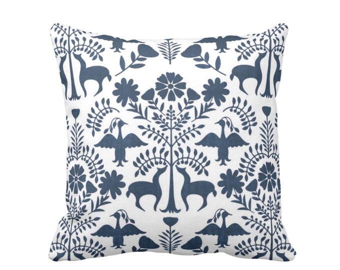 """OUTDOOR Otomi Throw Pillow or Cover, White/Navy 16, 18 or 20"""" Sq Pillows or Covers, Blue Mexican/Boho/Floral/Animals/Nature Print"""