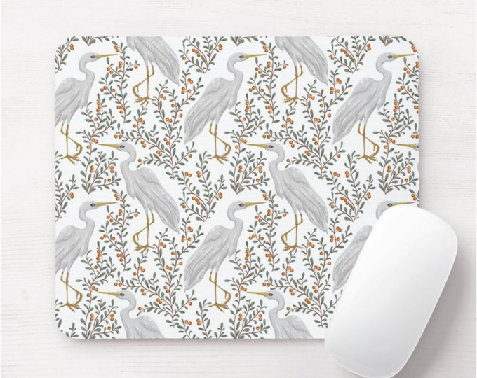 Crane Naturalist Mouse Pad/Mousepad, Nesting Birds/Bird Toile Pattern, Berry/Leaves/Plants, Floral/Botanical Illustration/Art Print