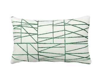 "OUTDOOR Kale Broken Geo Print Throw Pillow or Cover 14 x 20"" Lumbar Pillows/Covers, Dark Green/White, Painted Geometric/Abstract/Lines/Line"
