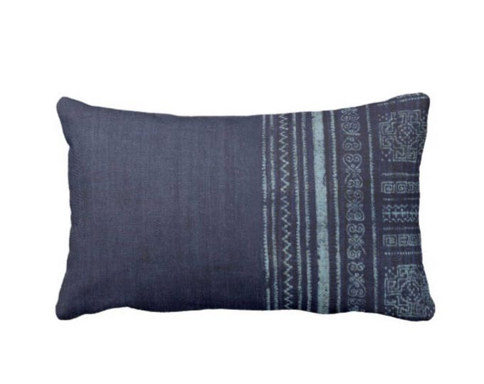 "Batik Indigo Printed Throw Pillow or Cover, Boho/Ethnic Navy Blue 14 x 20"" Lumbar Pillows or Covers, Vintage Embroidery Print"