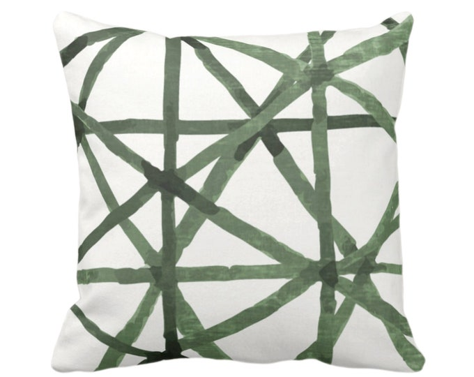 """OUTDOOR Watercolor Geo Throw Pillow or Cover, White/Kale 14, 16, 18, 20, 26"""" Sq Pillows/Covers, Green Painted Lines/Modern/Geometric Print"""