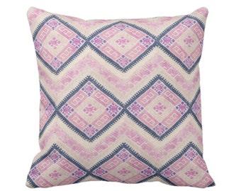 "READY 2 SHIP Chinese Wedding Blanket PRINTED Throw Pillow Cover, Pink/Blue 16"" Sq Pillow Covers, Thai Embroidered, Pastel Pinks"