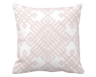 "Interlocking Geo Throw Pillow or Cover, Blush/White 14, 16, 18, 20 or 26"" Sq Pillows or Covers, Dusty Pink Geometric/Trellis Print"