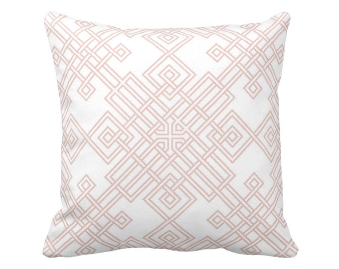 """OUTDOOR Interlocking Geo Throw Pillow or Cover, Blush/White 16, 18 or 20"""" Sq Pillows or Covers, Dusty Pink Geometric/Trellis Print"""