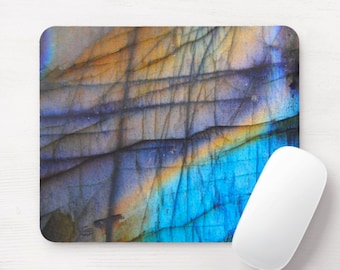 Labradorite Printed Mouse Pad/Mousepad, FAUX Blue Flash Gray Stone/Gemstone/Marble/Marbled Print/Pattern